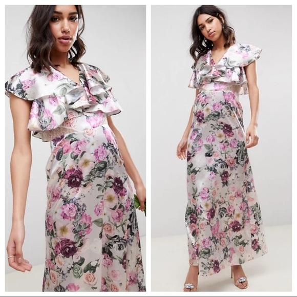 NWT ASOS Floral Ruffle Sleeve Lace Maxi Dress 6